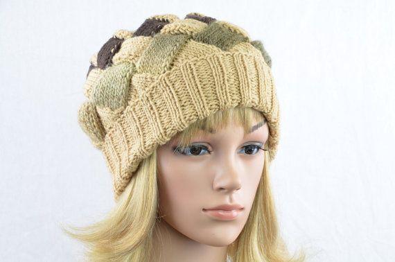 Beanie gestrickt beige sand mokka Strickmütze von AngisWollBobbl knit hat woman in beige sand mocha - unique hat / beanie for her