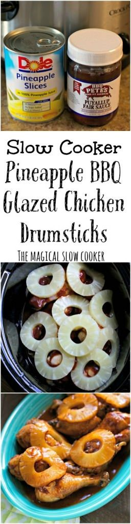 Slow Cooker Pineapple Barbecue Glazed Chicken Drumsticks