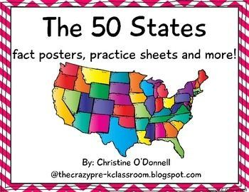 Here is a set of fact posters for the 50 states. Each State is represented on its own poster with its name, shape, location, flag, abbreviation, capital, landmark, landforms and river systems. After reviewing the 50 states your students will complete venn diagrams to compare and contrast 2 states at a time, fill in several worksheets and create a journal with 1/2 page sheets.