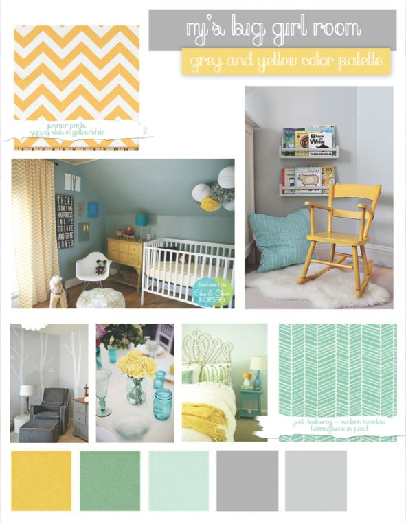 My final idea board for M's toddler girl room.