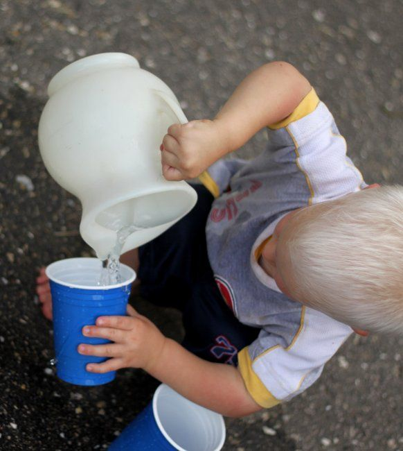 Pouring Water: Toddler Activity. The simplest activities can create hours of fun.  Use water and various cups, pots, pans, large spoons plus a bucket.