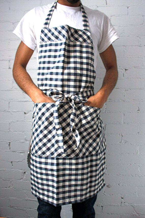 Mens Apron large apron navy gingham chefs apron by SSatHome