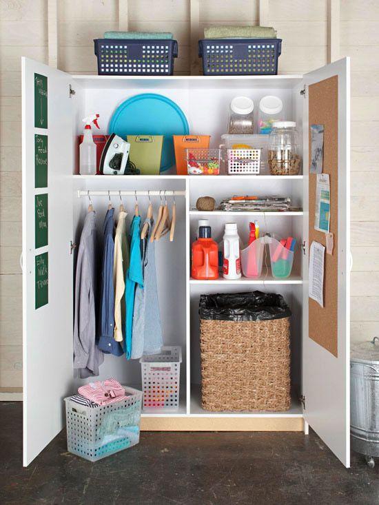 Laundry closet, cute idea!