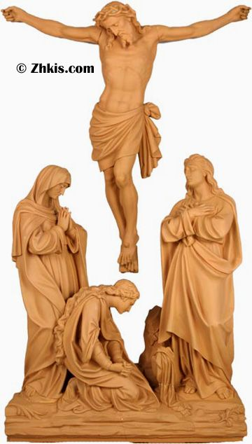 Jesus is Crucified Statuary Set - Statue of Jesus Christ at the crucifixion. One of 10 statue sets of Jesus on the way to the cross. Made from durable fiberglass with several finish options.