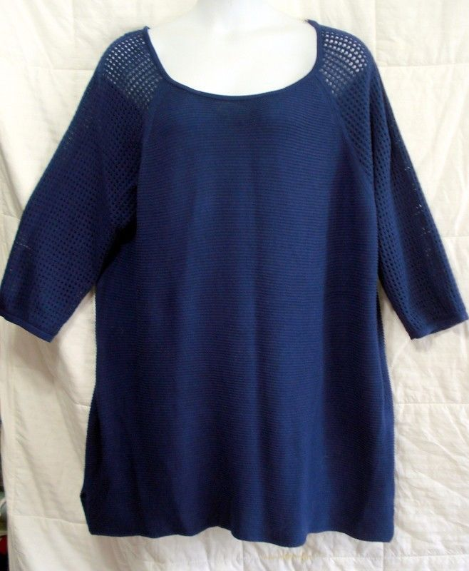 BASIC EDITIONS WOMAN PLUS 3X 4X BLUE COTTON SWEATER TUNIC 3/4 SLV SOFT STRETCHY #BASICEDITIONS #Tunic