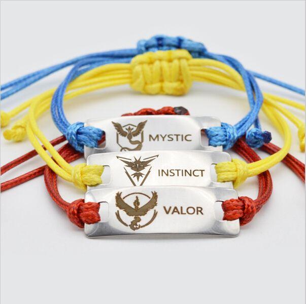>> Click to Buy << Stainless Steel Pokemon GO Bracelet Adjustable Team Valor Instinct Mystic Logo Bar Yellow Red Blue Bracelet #Affiliate