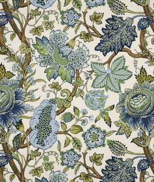 Robert Allen @ Home St Etienne Cn Lapis Fabric - $18.45 | onlinefabricstore.net also at joanne- guest room? living room?