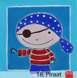 Kinderschilderij Piraat. Dit kleurrijke schilderij is leuk als decoratie aan de muur voor de kinderkamer.