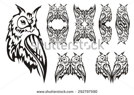 Tribal owl. Tattoo design. Black and white tattoos of an owl, owl's frames and owl's heart