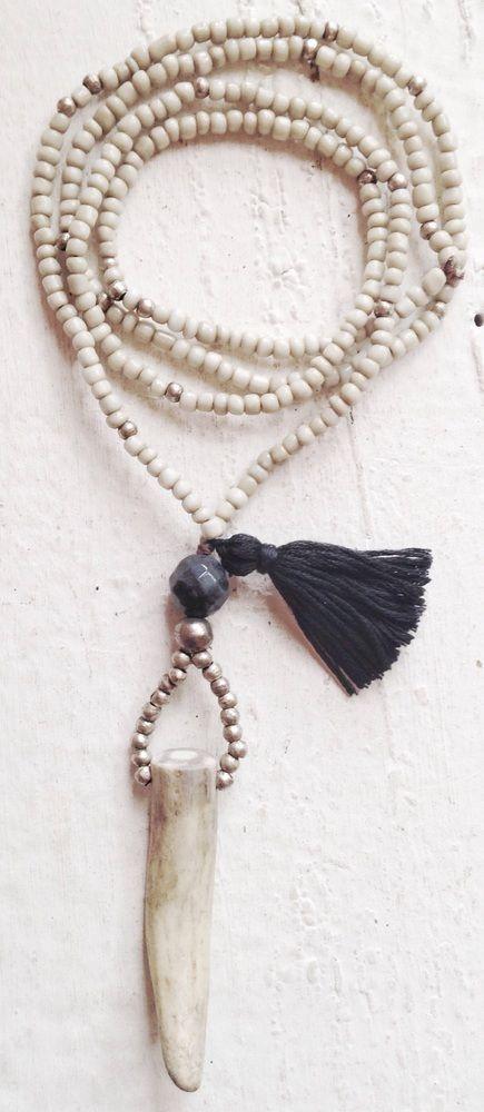 Image of Love Bead Necklace - Soft Cream Beads, Labradorite, Natural Antler, Tassel #100150