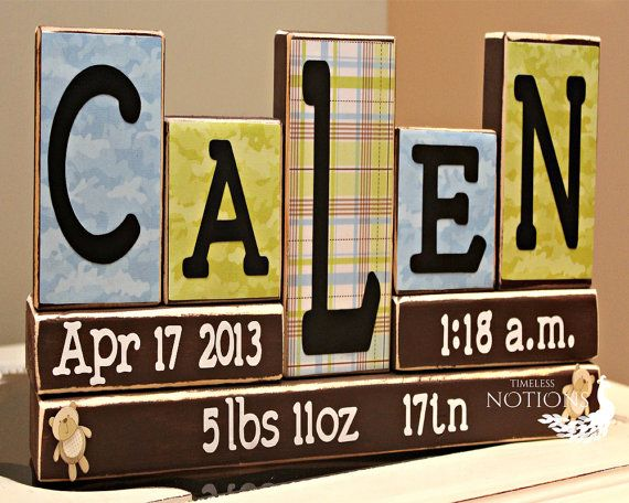 14 best name blocks images on pinterest baby ideas baby names baby boy nursery name wood blocks personalized birth announcement nursery wooden block letters unique baby gift 5 letters name wood sign negle Image collections