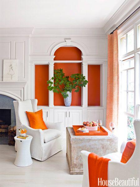Leave It Empty: House Beautiful, Orange, Living Design, Living Rooms, Decor Ideas, Interiors, Bold Color, White Rooms, Bookca