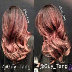 Rose gold in dark hair.