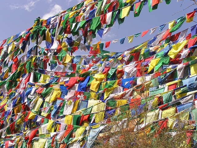 Prayer flags, Dharamsala. India. Photographed by Eric Lon.