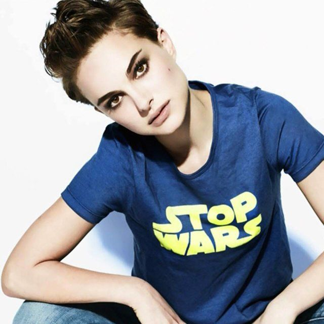 Natalie Portman. Love. Plus, you can also buy the 'Stop Wars' T-shirt from American Apparel... follow the link :)