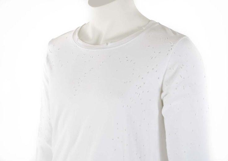Balmain White Distressed Long Sleeve T-Shirt - Blue Spinach