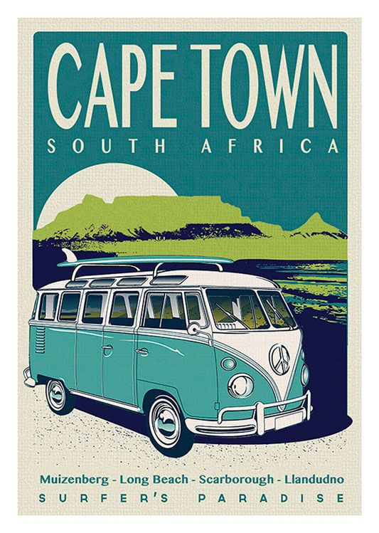 Surfing Vintage Poster, available at 45x32cm and 50x70. This poster is printed on matt coated 350 gram paper.  Also available on mat Blockmount on 50x70cm.