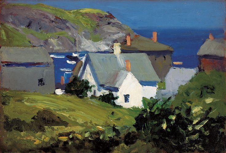 "Edward Hopper (United States, 1882–1967), ""Monhegan Houses, Maine,"" circa 1916–1919, oil on panel"
