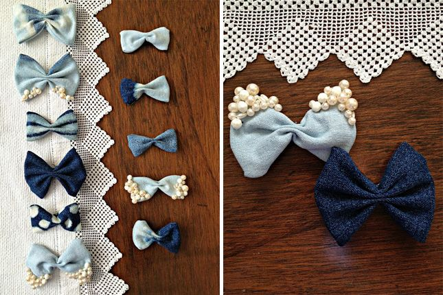 Turn denim scraps into adorable upcycled hair bows.