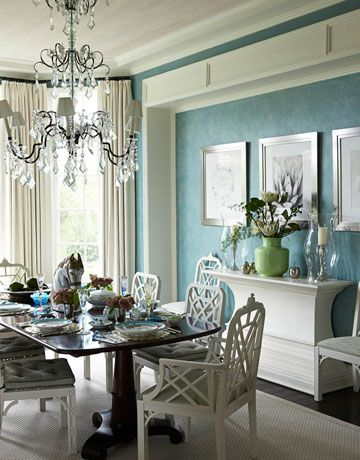 I love the colors here. I'm a very big blue/green fan, and who doesn't love a good formal dining room? :-)