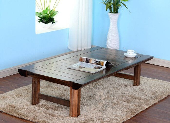 Japanese Floor Folding Table Rectangle130cm Asian Antique Furniture  Traditional Living Room Solid Wood Low Table For