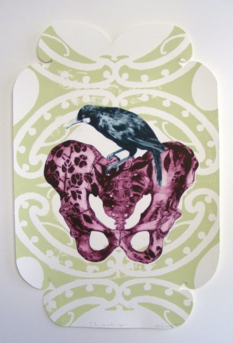 Vanessa Edwards, He wahine, he wahine etching and relief (framed) on 500 x 330 mm paper, 1 of 1, 2012.