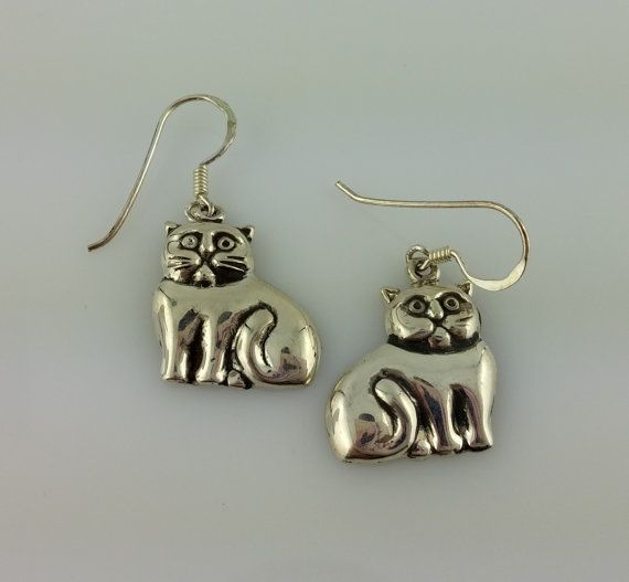 Vintage Sterling Silver Grumpy Kitty Cat by celtictreasures