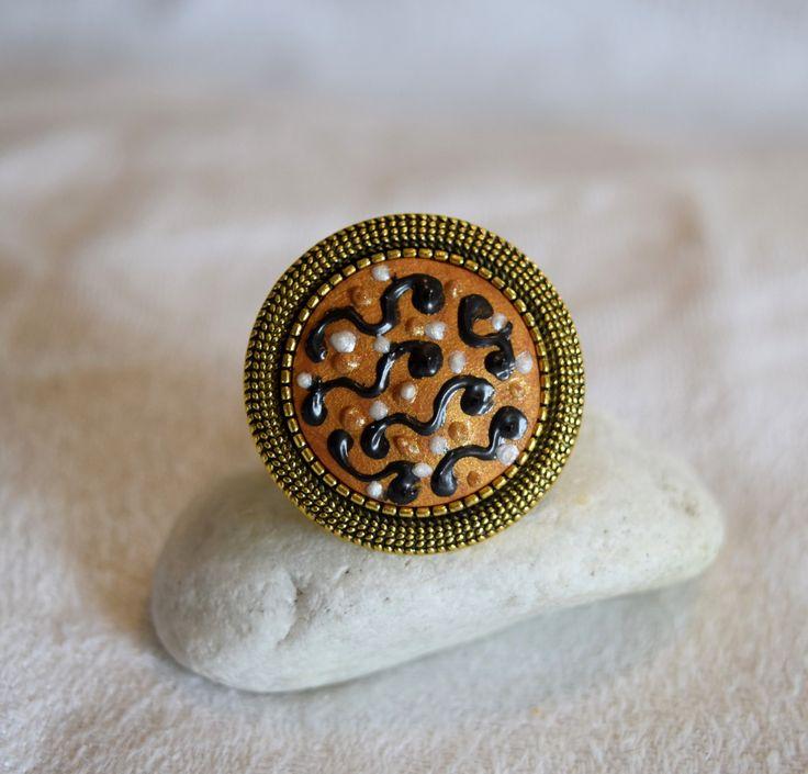 Bague en laiton Antique, pâte polymère, style graphique moderne, bohème, Haute Couture, doré - ilianna : Bague par diva-divine