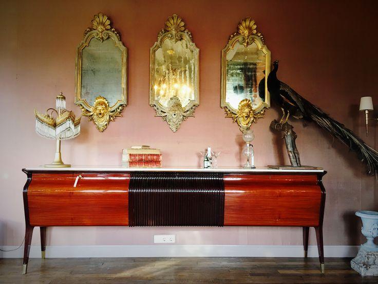 Mid century modern sideboard, design furniture, Osvaldo Borsani, Italian design, vintage, antique mirror, peacock