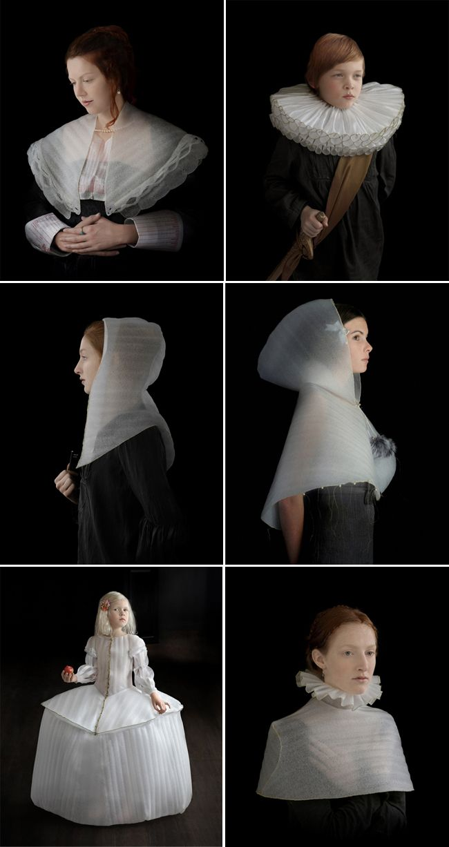 Suzanne Jongmans is a Dutch artist, who studied textile design and photography at the Art Academy in Tilburg.  For this beautiful series of portraits she created caps and collars out of packaging foam, inspired by the paintings and fashion from the Dutch Golden Age, which includes the paintings of Holbein, Vermeer and Clouet.