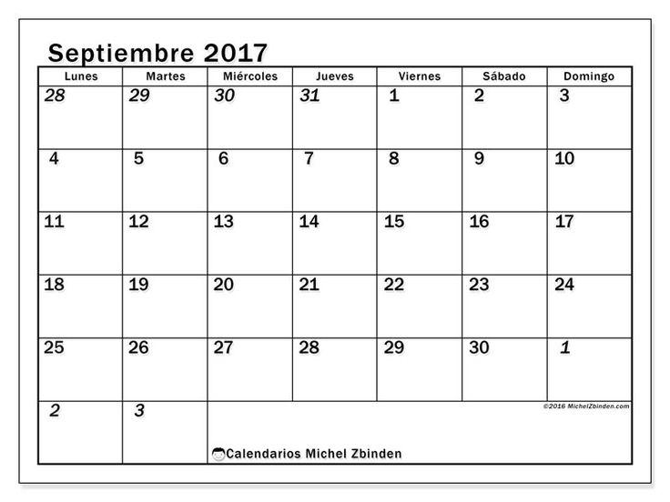 Gratis! Calendarios para septiembre 2017 para imprimir