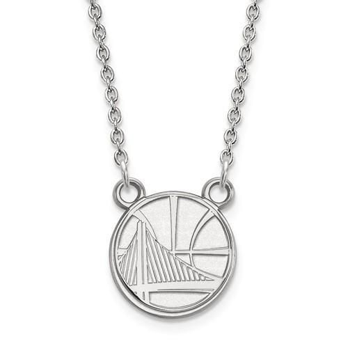 NBA LogoArt Golden State Warriors Round Pendant Necklace - Sterling Silver or Solid Gold