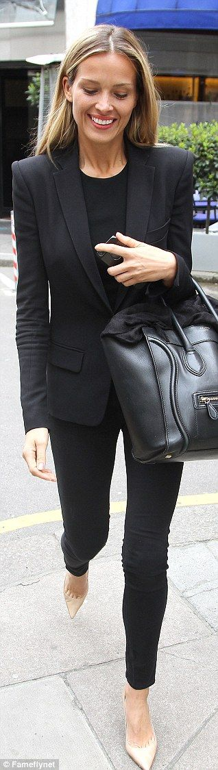 Petra Nemcova in a black trousers suit and R&B nude heels