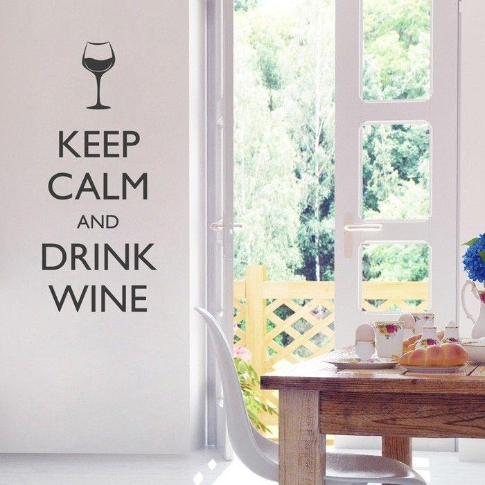 Wandtattoo Spruch - Keep calm and drink wine