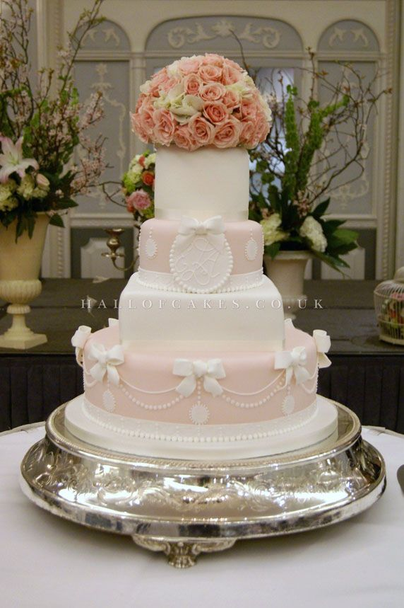 Pale Pink White Fairytale Wedding Cake
