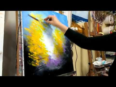 """""""Easy"""" Knife Painting Course, Autumn Forest by Nelly Lestrade – YouTube"""