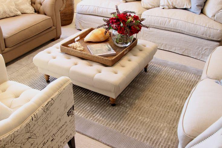 Linen coffee table ottoman