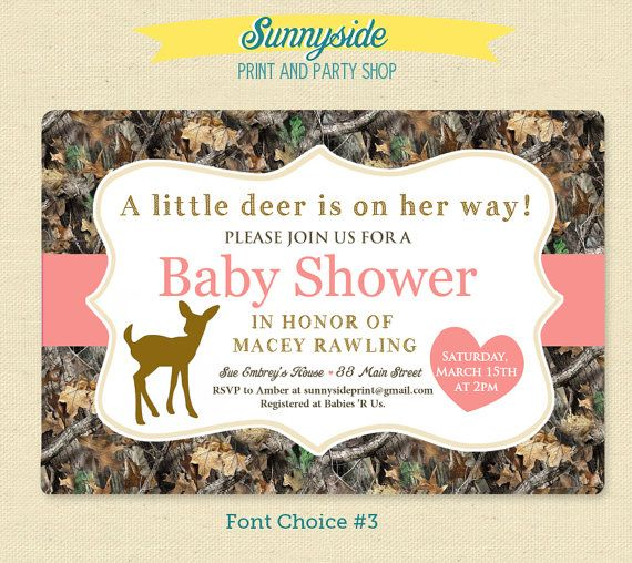 Little Deer - Pink Camo / Camouflage Baby Girl Shower Invitation - Printable Invite on Etsy, $14.00