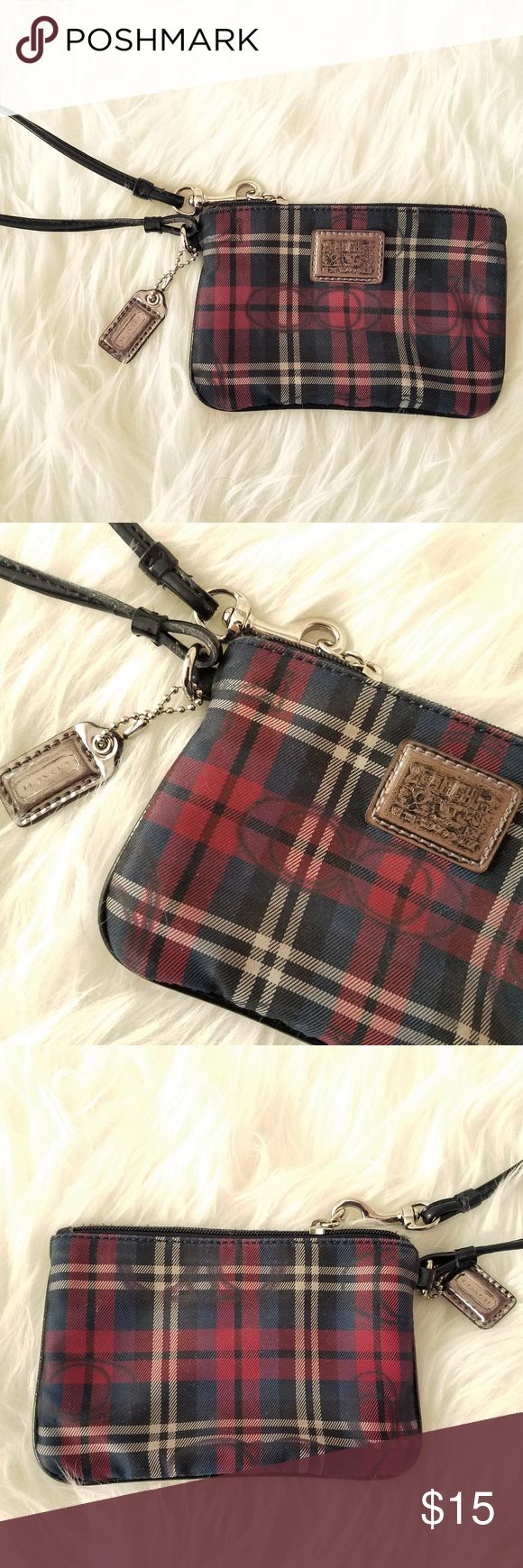 "Coach Wristlet Black, red, and white check pattern with signature coach symbol corner zio wristlet clutch. One compartment. in good used condition. Coach poppy collection. 6""W x4""H x .5""D Coach Bags Clutches & Wristlets"