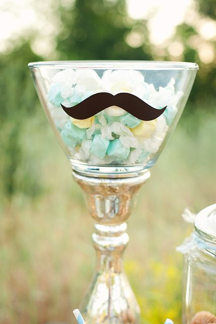 Add a mustache sticker to your glasses for coordinating serving dishes