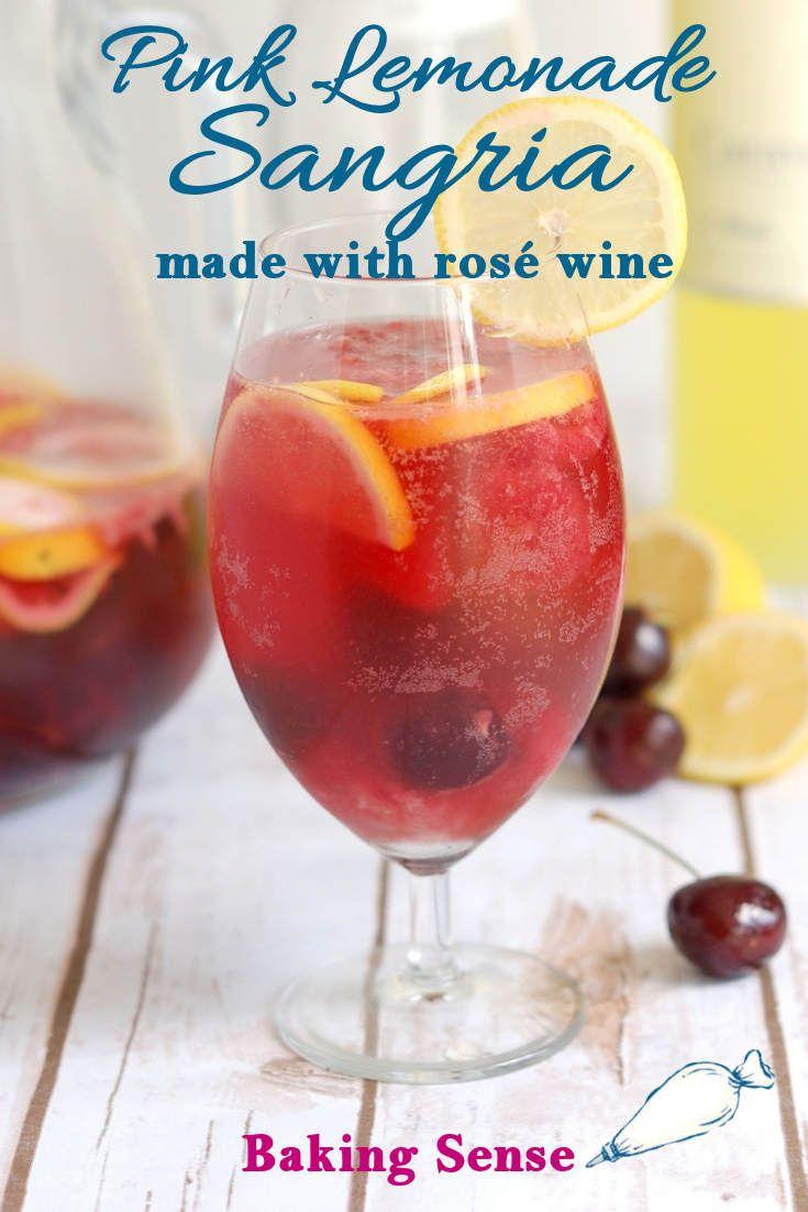 Pink Lemonade Sangria Is Made With Dry Rose Wine Limoncello Fresh Lemons Cherries Raspberries This Rose W Lemonade Sangria Spritzer Recipes Dry Rose Wine