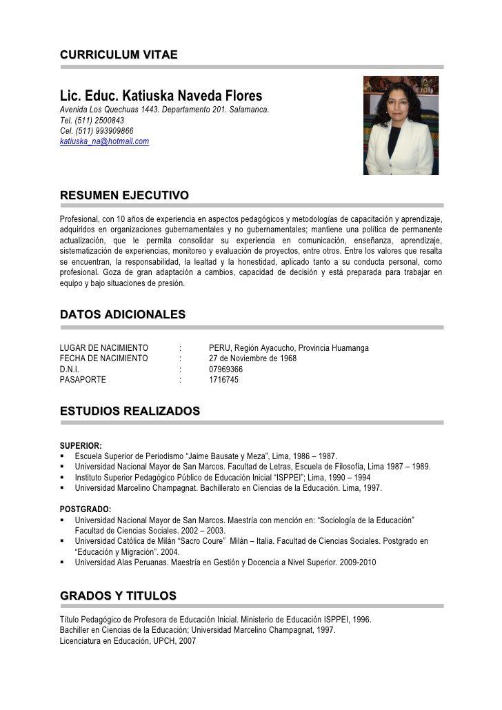 Modelo De Curriculum Vitae Catolica Modelo De Curriculum Vitae In 2020