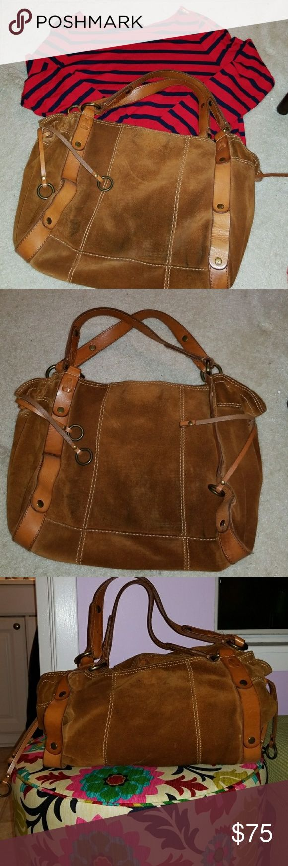 Lucky Brand Purse Suede with tan leather straps Lucky Brand Bags Shoulder Bags