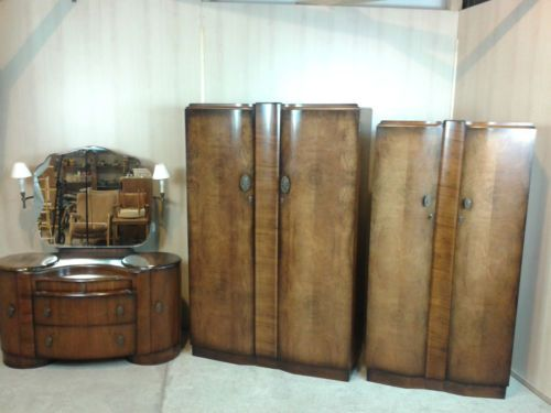 Vintage Shrager Art Deco Style Walnut Veneer Three Piece Bedroom Suite Vgc 1940 39 S Home And