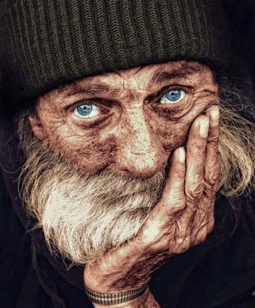 Portrait of a homeless man ~ Look at the depth of emotion in his eyes....