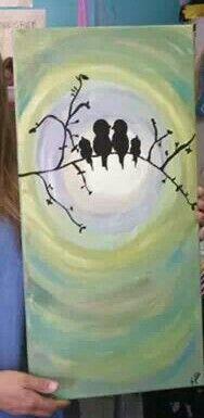 Birds canvas painting