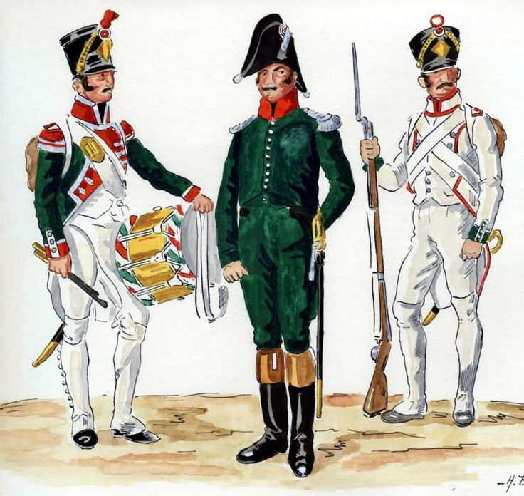 Kingdom of Italy-1st Regiment of line infantry in early 1808, from left to right: the drummer, a junior officer, fusilier. Fig. H. Boisselier.