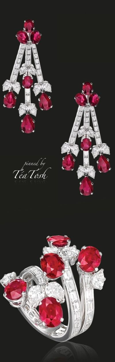 ❇Téa Tosh❇ Rubies and diamonds gracefully made to wrap around in an elegant ring & ruby and diamonds chandelier earrings.