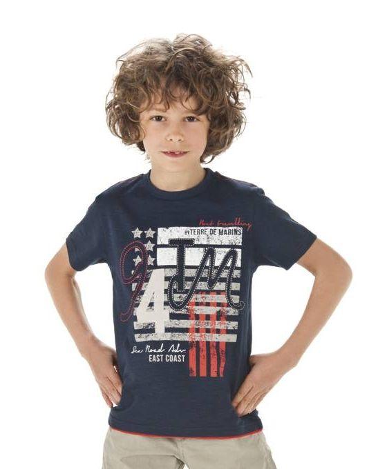 T-shirt garçon bleu à motif manches courtes - Polo, T-Shirt Mode Enfant garçon Terre de Marins