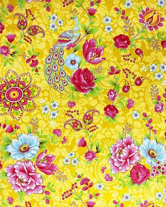 Pip - Pauw geel/ bloem 313050  Kinderbehang Eijffinger - behang ...